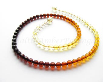 Baltic Amber Necklace Rainbow Color Round Beads. For Adults
