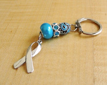 Turquoise Awareness Key Chain - Congenital Diaphragmatic Hernia, Dysautonomia, Interstitial Cystitis, Renal Cell Carcinoma