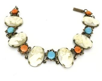 Antique Art Deco Silver & Coral Cameo Panel Bracelet