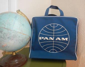 Vintage Pan Am Airlines Travel Bag Carry On Bag Messenger Bag Tote Bag