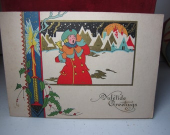 Colorful gold gilded art deco 1920's unused Carrington Christmas card victorian bell ringer town crier in village,holly berry candle