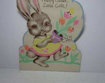Colorful die cut 1936 art deco Rust Craft easter card to little girl,adorable bunny in yellow and pink dress holds potted tulips,