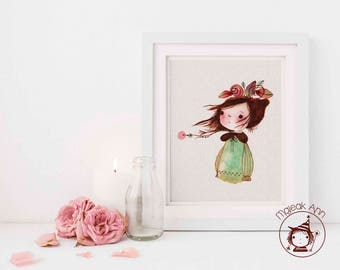 Madeline - Nursery Decor - Baby Girl Decor - Little Girl and Flowers head - Nature -Whimsical, Dreamy, Enchanting, Art print illustration