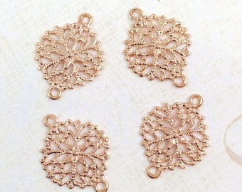 Rose Gold Connector, Filigree Connector, Brass Connector, Floral Connector, Brass Link, Filigree Setting, 13mm x 17mm - 4 pcs. (rg179)