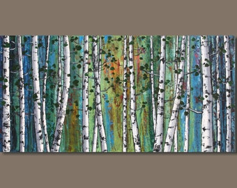 FREE SHIP abstract painting, birch trees painting, panoramic painting, forest painting, landscape painting, blue white art on canvas, aspens