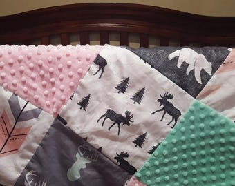 Baby Girl Patchwork Blanket- Moose, Bears, Buck, Fletching Arrow, Mint Minky, and Blush Minky Patchwork Baby Blanket