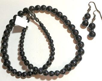 "Black Beaded Choker with Matching Earrings - 16"""