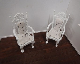 Dollhouse shabby chic 2 armchairs, French dollhouse collectible accessory, 1:12th scale