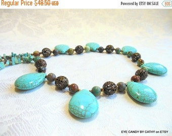 Holiday Sale Turquoise and bronze necklace