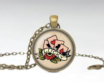 Lucky Tattoo Necklace Glass Photo Pendant Tattoo Jewelry