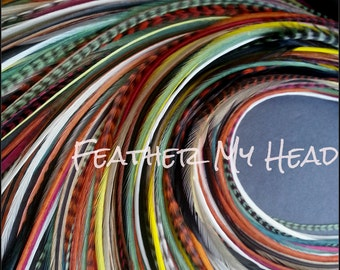 """Feather Hair Extensions - Do It Yourself (DIY) Kit - 16 Pc Thin Feathers - Medium Long 7"""" -9"""" (18-23cm) Sherwood Forest"""