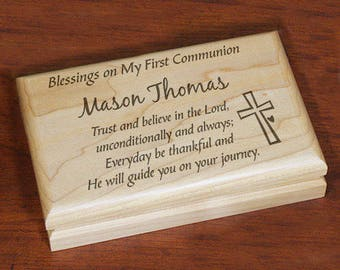 First Communion Engraved Keepsake Box Custom Personalized Gift