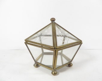 Vintage Glass Brass Domed Pentagon Box - Etched Flowers Glass Brass Display Box