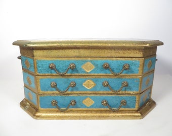 Pretty Florentine Style Turquoise Gold Wood Jewelry Box - Vintage Turquoise and Gold Jewelry  Box