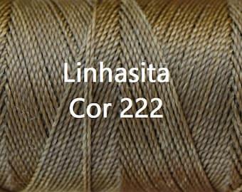 Linhasita Khaki COR 222 - Waxed Polyester Cord/ Hilo/ Spool