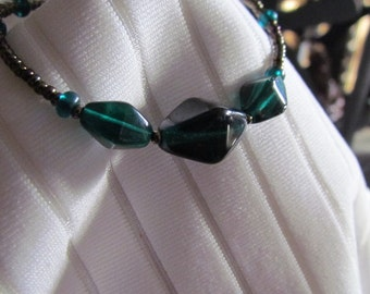 Dark Emerald Green and Bronze Glass Bead Bracelet