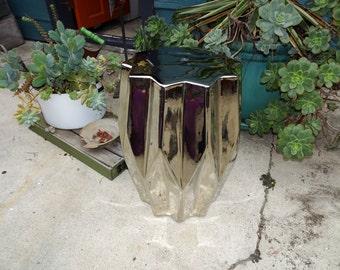 Metallic Silver Geometric Garden Stool, Ceramic Garden Stool