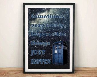 DOCTOR WHO PRINT: Tardis Impossible Things Poster Art Wall Hanging