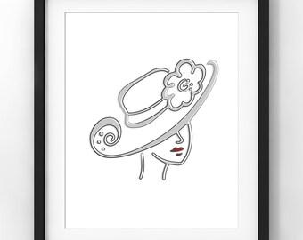 Downloadable Art, Sketch, Woman, Hat, Home Decor, Parisian, Minimalist Art, Modern Art, Contemporary Art, Nursery, Printable Download