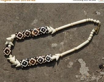 BONE BEAD NECKLACE, vintage bone bead necklace, necklace made from ox bone and crocodile bone, original design bone necklace