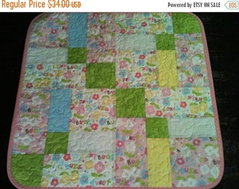 "HOLIDAY SALE A Pastel Delight In This 23"" X 23"" Preemie or Doll Quilt Done In The Scribbles Line By Windham Fabrics"