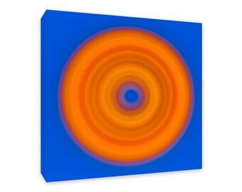 Canvas Designer Tile, Modern Wall Art, Blue, Orange Art, Square Print, Geometric Artwork, Framed Canvas Print, Art Tile, Circle Pattern