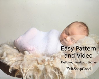 Pattern (Set of Instructions and YouTube video) making felted curly layer Newborn Flokati rug PDF pattern Beginers design by FeltSoapGood