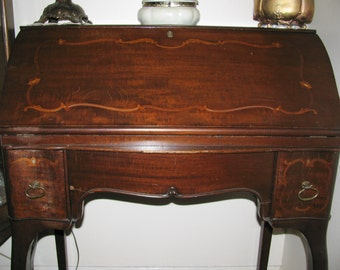 Antique French Mahogany ladies desk with inlaid wood and yellow shell