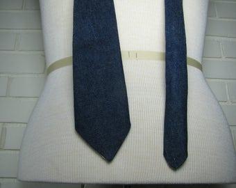 Vtg Dark Blue wide Denim tie