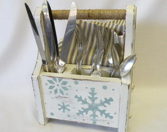 christmas decor silverware caddy wood carrier cutlery server white flatware holder