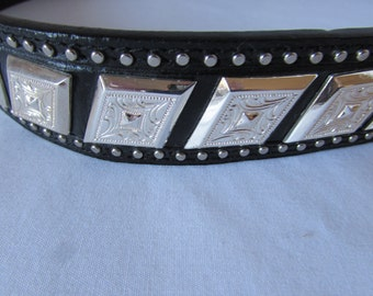 BELT Silver Detail Size 36 Hand Tooled Leather Western Cowboy unisex