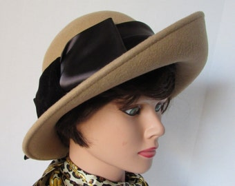 Vintage wool Hat Silk Bow retro 1930's style