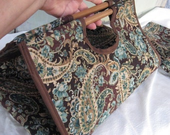 Casserole Carrier Rectangle for 13x9 Dish Dark Brown Aqua Teal Light Brown Beige Gold Paisley Kitchen Accessories Food Carrier Church Goings