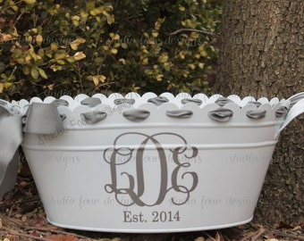 Personalized Scalloped Oval Tub - Ice Bucket - Beverage Tub - Drink Tub/Bucket - Assorted Colors Available