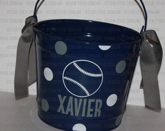 10 QUART Personalized Easter Bunny Bucket/Pail - Baseball/Any Sport Easter Pail - Easter Egg Hunt - Assorted Colors/Designs
