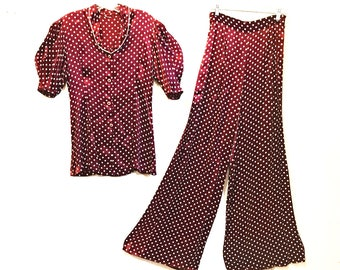 RARE 1930s Polka Dot Satin Beach Pajamas Loungewear Set / Wide Leg High Waist Pants / Short Sleeve Ruffled Top