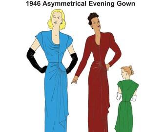 RH1418 — 1946 Asymmetrical Evening Gown