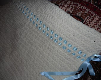 Hand crocheted crib blanket for a baby boy, your own or a shower gift. Blue satin ribbon threaded through at the top.