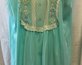 Teal with lace baby doll large medium lingerie night gown vintage retro wedding