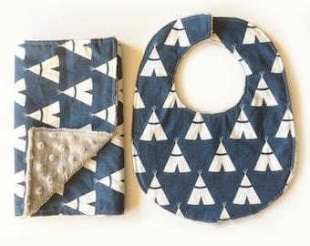 Navy TeePees -  Baby Boy Burp Cloth Rag Bib Set - Cotton + gray minky - Woodland Shower Gift - Ready to Ship