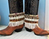 Boot cuffs. boot jewelry. boot bling , boho boot wraps. cowgirl boot belts, boho chic. gypsy boot cuffs, boot fringes, hippie boot belt