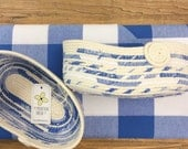 Oval Fabric and Rope Basket - Blue and White