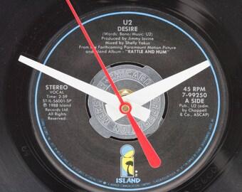U2 record clock, Wall clock or desk clock, Unique wall clock, Bono fan gift, Kitchen office, Joshua Tree album, U2 song lyric t shirt print