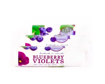 Blueberry Violets Lip Balm - All Natural - Ripe Blueberry with Soft Candied Violets