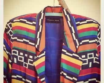 Jazzy 90s AFRICA Blazer Jacket Multi-Color Striped