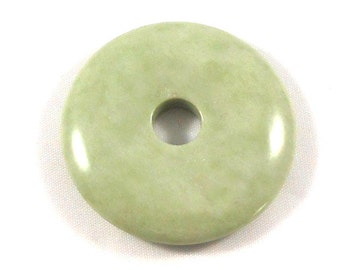 Green Stone Pendant, Stone Necklace Supplies, Light Green Donut, Round Pendant, Round Pendant, Large Disc, Green Gemstone, 60mm Marble