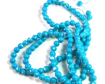 Turquoise Blue Beads with White Splatters, Round Glass Beads on a 32 Inch Strand, 6mm Small Glass Beads