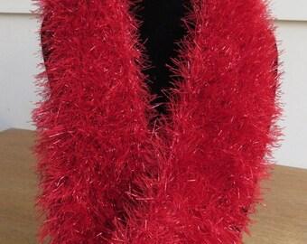 Mobius scarf / cowl in red glitter yarn