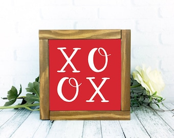 X O Valentines Day Sign, Red Framed Wood Rustic Painted Home Decor, 7 x 7 Handmade Wall Hanging, Kisses and Hugs Decor Gallery