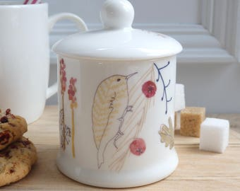 honey pot - sugar pot - sugar bowl - jam pot - china sugar pot - bird pot - kitchen canister - woodland sugar pot - forest kitchenware